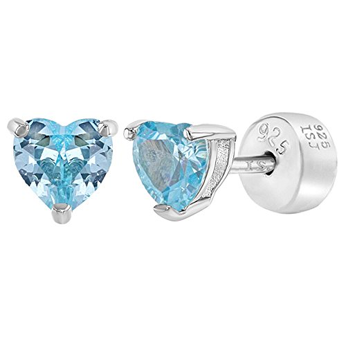 925 Sterling Silver Aqua Blue Cubic Zirconia Solitaire Heart Safety Back Earrings for ()
