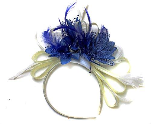Ivoire/bleu serre-tête bibi avec plume pour cheveux Net Créoles mariage Royal Ascot courses