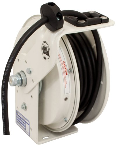 (KH Industries RTB Series ReelTuff Power Cord Reel, 12/3 SJOW Black Cable, 20 Amp, 50' Length, White Powder Coat Finish)