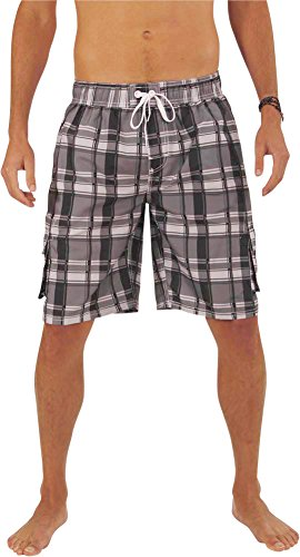 NORTY Swim - Mens Plaid Swim Suit, Charcoal, Black, Silver 39959-Large