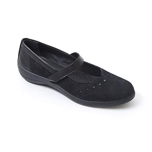 Padders Damen Lederschuhe Rowyn | Hergestellt in Großbritannien | Breite E Größe | kostenloser Rückversand nach UK | Gratis Footcare UK Schuhanzieher Schwarz