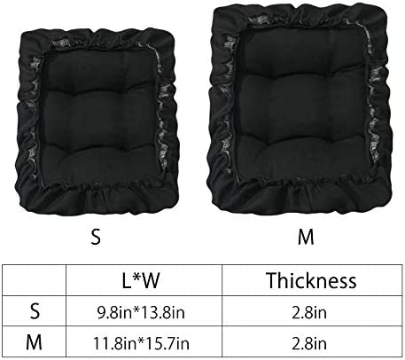 TINTON LIFE Padded Rectangle Bar Stool Cover Cushion with Elastic Fabric Satori Stool Seat Cushion for Metal Wooden Bench 12x16 Black