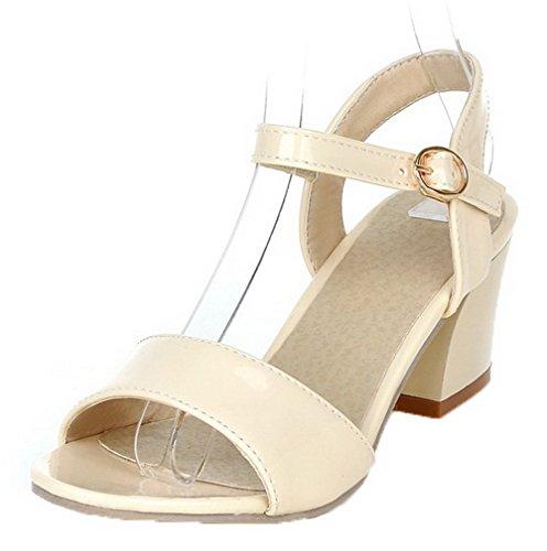VogueZone009 Women Patent Leather Open-Toe Kitten-Heels Buckle Solid Sandals Beige