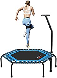 """LeikeFitness Professional Gym Workout 55"""" Trampoline Cardio Trainer Exercise Rebounder with Adjustable Ha"""