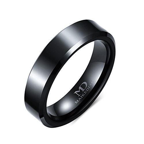 8mm/6mm/4mm Black Tungsten Carbide Wedding Couple Rings Engagement Band For Men Women Beveled Polished Edge (4mm(tungsten), (Black Magic Titanium Tire)