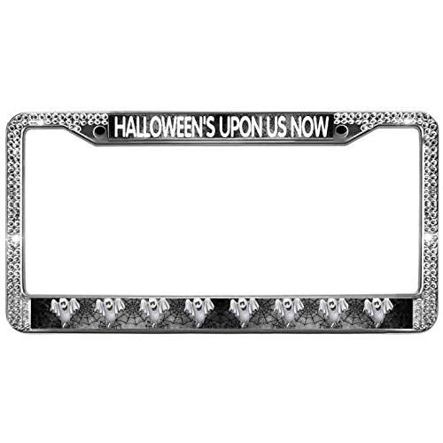 Aopengjianc License Plate Frame for Car Halloween'S Upon US Now Rhinestones Crystal License Plate Frame Holder with Screw Caps License Plate Frame Auto Car Truck for US ()