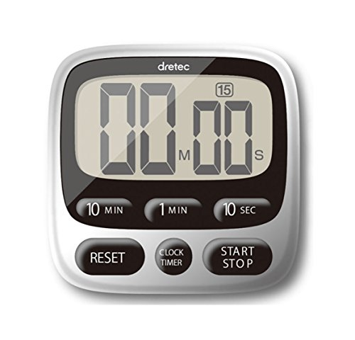 dretec Digital Kitchen Clock Timer T-566, Magnetic Back, Loud Alarm, Large display, stand, hanging hook, Officially Tested in Japan (sustainable battery included)