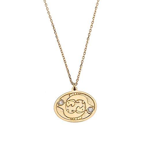 (14k Yellow Gold Pisces Zodiac Sign Cubic Zirconia Pendant Necklace, 16
