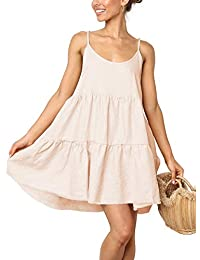 Spaghetti Strap Dress for Women Pleated Swing Dress Backless Casual Mini Dress