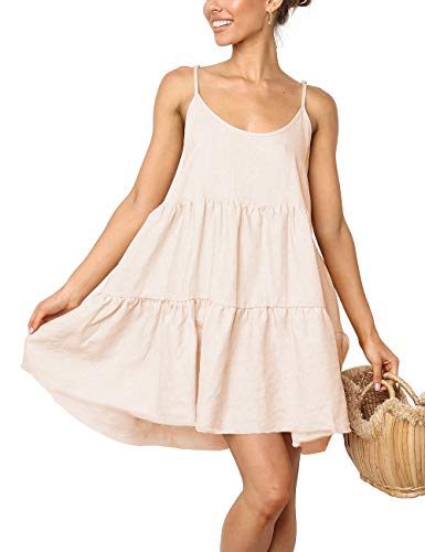 (Summer Casual Dress Aline Swing Beach Sundress Tunic t Shirt Dress(Apricot,XL))