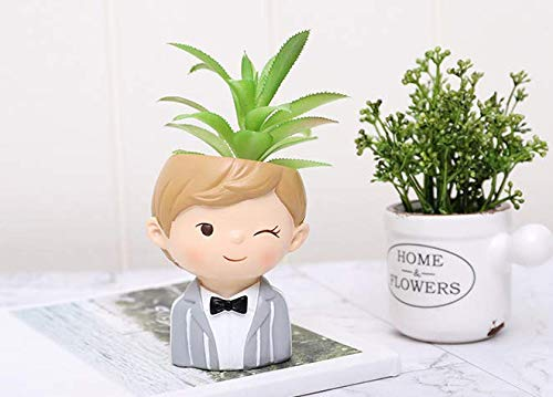 - Cute Cartoon Boys and Girls Lover Shaped Succulent Cactus Flower Plant Pot Planter for Home Garden Office Desktop Decoration (Plant Not Included)