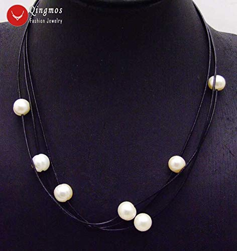 White 10-11mm Natural Pearl Necklace for Women with 10-11mm Rice Pearl Pendant Leather 3 Strands 19-21