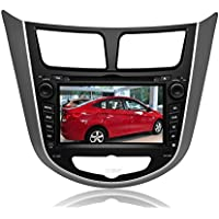 Pupug 7 Inch In Dash Car DVD Player Special for Hyundai Accent Verna Solaris with Bluetooth Touchscreen DVD GPS Navigation System Multi Media Radio AV Receiver Navigation SD/USB IPOD AUX In +Free US Map