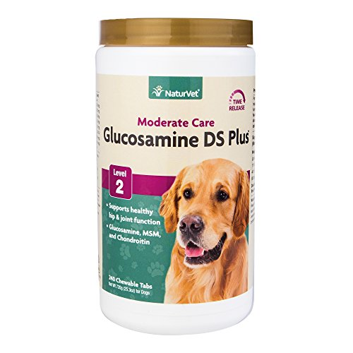 NaturVet - Glucosamine DS Plus - Level 2 Moderate Care - Supports Healthy Hip & Joint Function - Enhanced with Glucosamine, MSM & Chondroitin - for Dogs & Cats - 240 Chewable Tablets