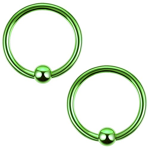 BodyJ4You 2PC Ball Closure Ring Green Steel 18G BCR 10mm Tragus Rook Daith Nose Septum Eyebrow Jewelry