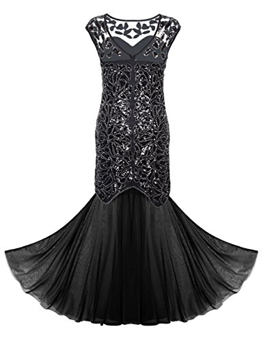 De Vestido Fiesta Mujeres's Lentejuelas Negro Largo PrettyGuide Noche Gatsby 1920 Maxi De Negro 0q6agR