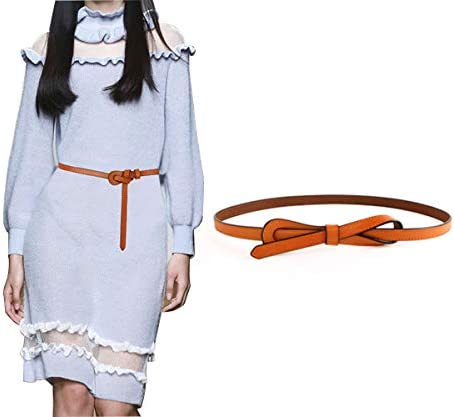OZZEG Skinny Belts for women Dress Jeans Pants Adjustable Leather Slim Waist Belt for Lady Waistband