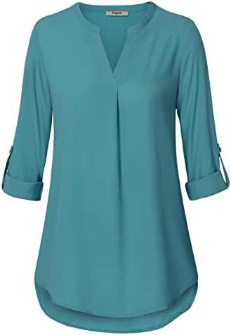 Timeson Women's Casual Chiffon V Neck Cuffed Sleeve Blouse Tops