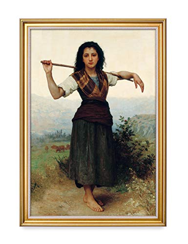 DECORARTS - The Shepherdess by William-Adolphe Bouguereau. The World Classic Art Reproductions. Giclee Print& Museum Quality Framed Art for Wall Decor. 16x24, Total Size w/Frame: 18.5x26.5