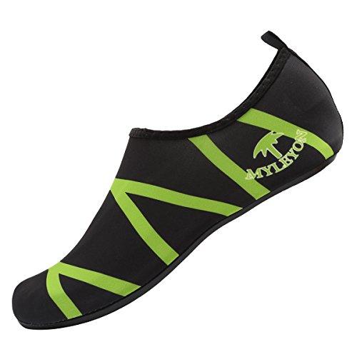 Cior Hommes Et Femmes Pieds Nus Peau Aqua Chaussures Anti-dérapant Multifonctionnel Chaussures De Leau Pour Plage Piscine Surf Yoga Exercice Green01