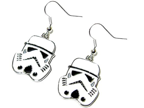 [Dangle Earrings Star Wars Stormtrooper Color In Gift Box by Superheroes] (4 Star Dragonball Costume Color)