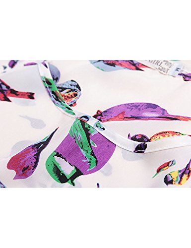 de Femme Blanc Chemise Oiseau courte imprim Letuwj rond col manche nXAqUUS