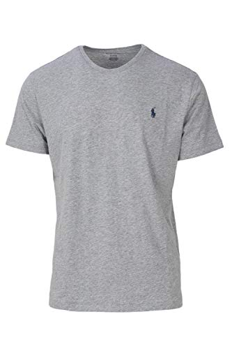 RALPH LAUREN Polo Mens Crewneck T-Shirt (Medium, Grey Heather/Blue Pony)