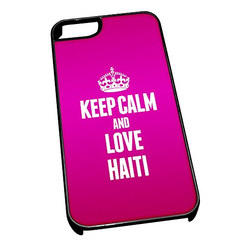 Nero cover per iPhone 5/5S 2203 Pink Keep Calm and Love Haiti