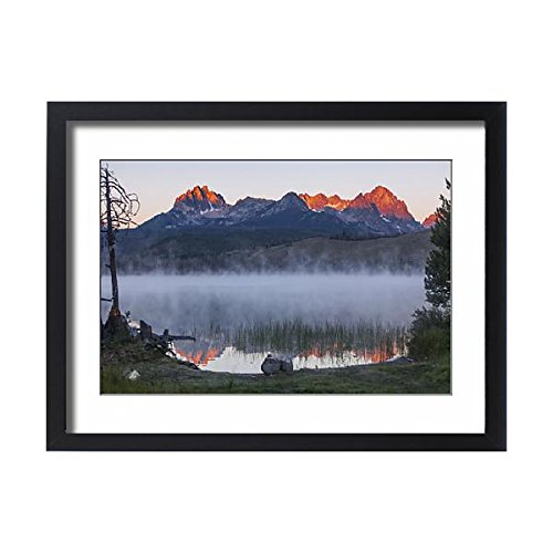 Framed 24x18 Print of Litttle Redfish Lake, SNRA, Idaho - red glow and reflections of Mt (12633492) (Redfish Framed)