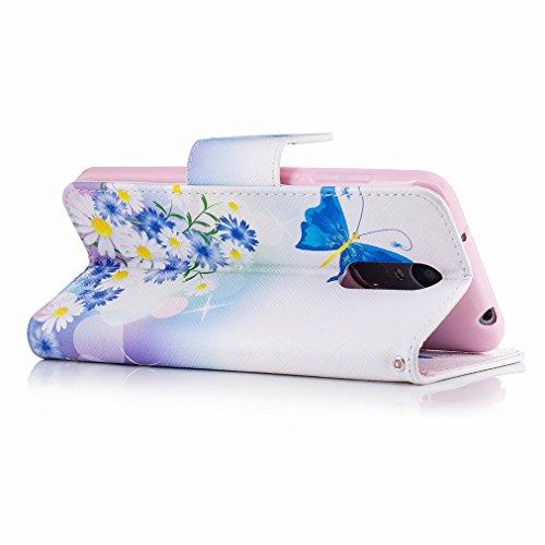 Custodia Huawei Enjoy 6 Cover Case, Ougger Blue Butterfly Portafoglio PU Pelle Magnetico Stand Morbido Silicone Flip Bumper Protettivo Gomma Shell Borsa Custodie con Slot per Schede