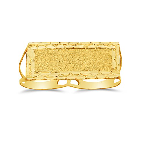 Size - 8.5 - Jewel Tie Solid 14k Yellow Gold 2 Finger Mens Nugget Plate Ring