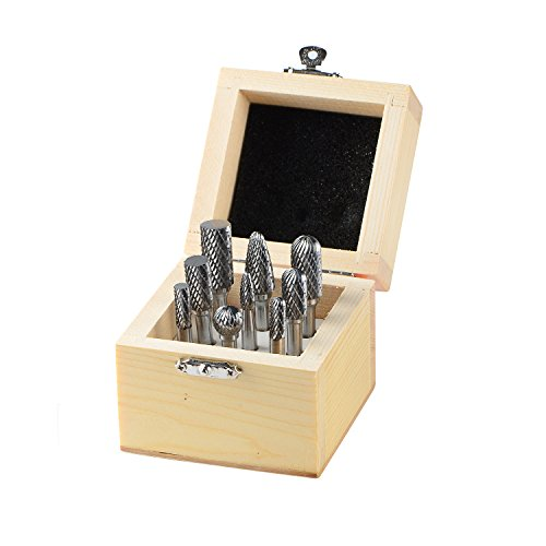 Shank Double Cut Carbide Burr - SpeTool Carbide Rotary Burr Double Cut 1/4In Shank Die Grinder bits Set of 9 For Steel Metal Porting Carving Polishing,Engraving