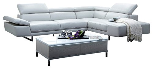 (J&M Furniture 1717 Full White Italian Leather Sectional Sofa With Adjustable Headrests)