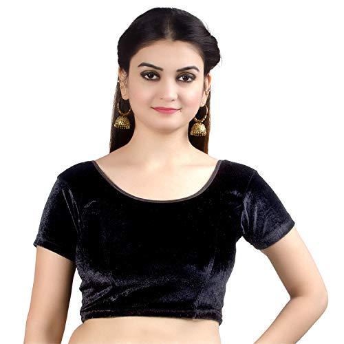 Chandrakala Women's Stretchable Readymade Velvet Black Indian Ethnic Saree Blouse Crop Top Choli-Medium (B130BLA3)