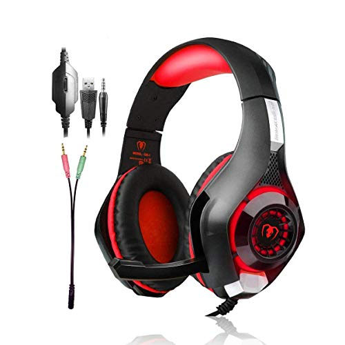 Gaming Headset PS4 Headset, Noise Cancelling Over Ear Headphones with Mic, LED Light, Bass Surround, Soft Memory Earmuffs for PC Laptop Mac Nintendo Switch Games - Red -  Beexcellent, O-1