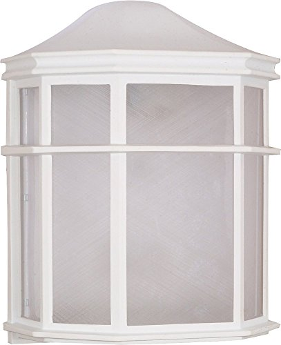 Filament Design 7778073537 1-Light White Outdoor Cage Lantern Wall Fixture with Die Cast Linen Acrylic Lens, - Cage Lantern Wall Fixture