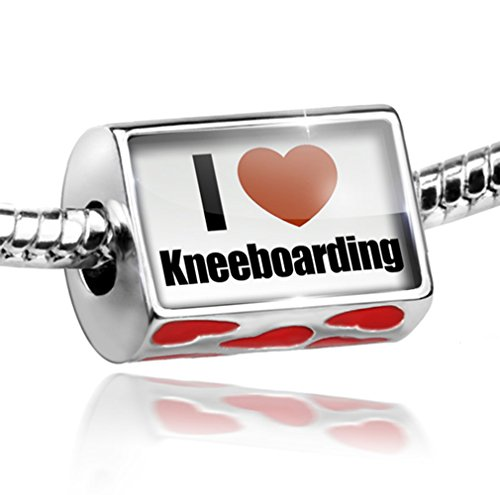 Bead with Hearts I Love kneeboarding - Charm Fit All European Bracelets, Neonbl