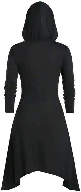TWISFER średniowieczny kostium damski z kapturem, paski w stylu vintage, płaszcz, sukienka wysoka, bluzka, bluzka, top, sukienka na Halloween, sukienka w stylu retro, długie rękawy, duże rozmiary, d&#