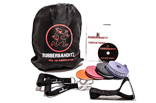 RubberBanditz Resistance Bands Set | Travel Exercise Kit w/ Door Anchor, Handles, + 5-200lbs of Resistance