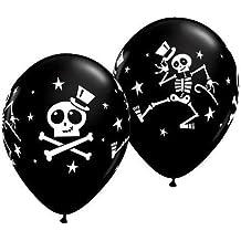 "Halloween Dancing Skeleton & Top Hat 11"" Qualatex Latex Balloons x 5"