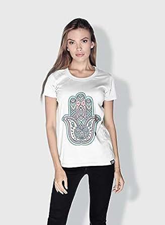 Creo Henna Hand 3Araby T-Shirts For Women - M, White
