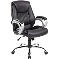 United Seating Executive Mid-back PU and PVC Office Task Chair with Thick Padded Back, Seat and Armrests, Jet Black