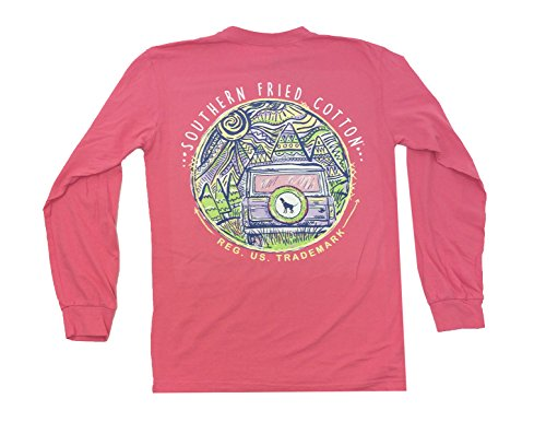 Southern Fried Cotton Mountain Weekend Adult Long Sleeve T-Shirt-Pink Jam-XL