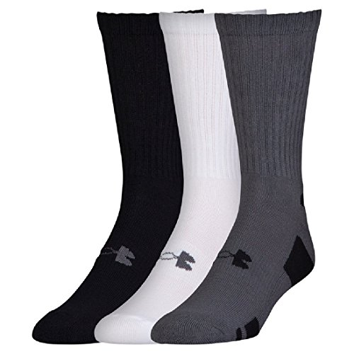 Boys Under Armour 3-Pack HeatGear Crew Socks - Crew Fit Crew Trim Socks