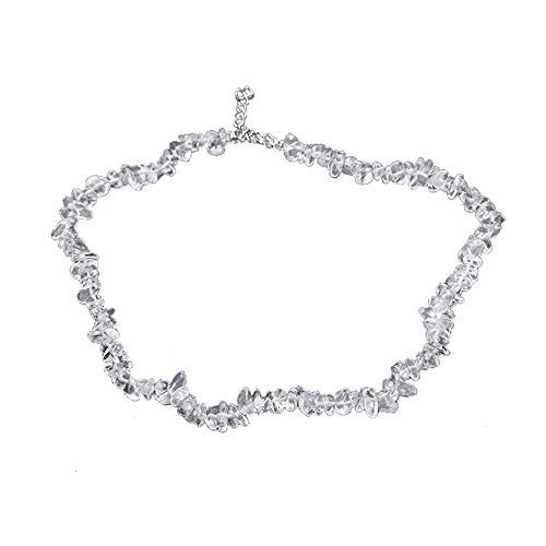 Haluoo Bohemian Handmade Natural Irregular Gemstones Chip Beads Long Chain Necklace Hawaiian Beach Stretch Healing Crystal Beaded Bib Statement Necklace for Women Girls 18″ (Clear)
