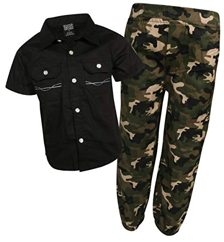 - Quad Seven Boys 2-Piece Pant Set (Woven Top and Twill/Denim Bottom) (Black/Army Green, 2T)'