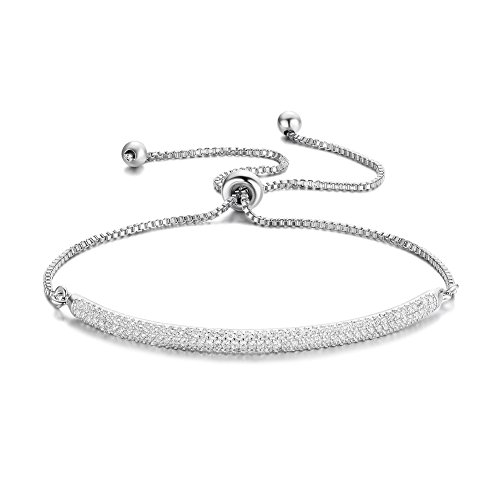 Gold Chain Pave Bracelet (DIFINES Redbarry Micro CZ 18k White Gold Plated Bar Shape Adjustable Charm Bracelet for Women Girls 9.05