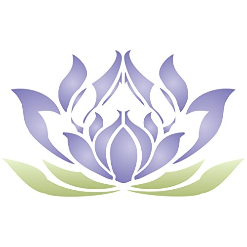 "Lotus Flower Stencil - (size 5""w x 3""h) Reusable Wall Stencils for Painting - Best Quality Lotus Blossom Ideas - Use on Walls, Floors, Fabrics, Glass, Wood, Terracotta, and More…"