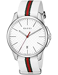 Gucci G-Timeless Stainles Steel Mens Watch with Striped Nylon Band(Model:YA126322)