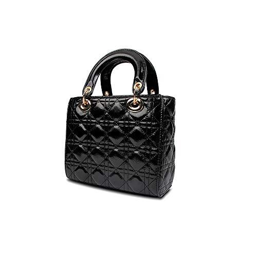 Olyphy Designer Patent Leather Top Handle Handbag for Women, Fashion PU Small Shoulder Handbag, Classic Crossbody Purse (Black)